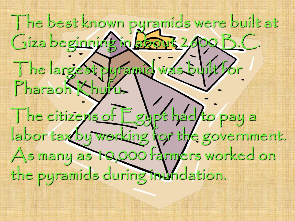 The best known pyramids were built at Giza beginning in about 2600 B.C. The largest pyramid was built for Pharaoh Khufu. The citizens of Egypt had to
