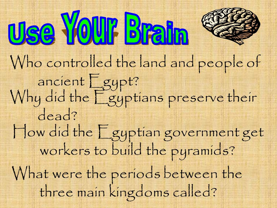 Who controlled the land and people of ancient Egypt? Why did the Egyptians preserve their dead? How did the Egyptian government get workers to build t