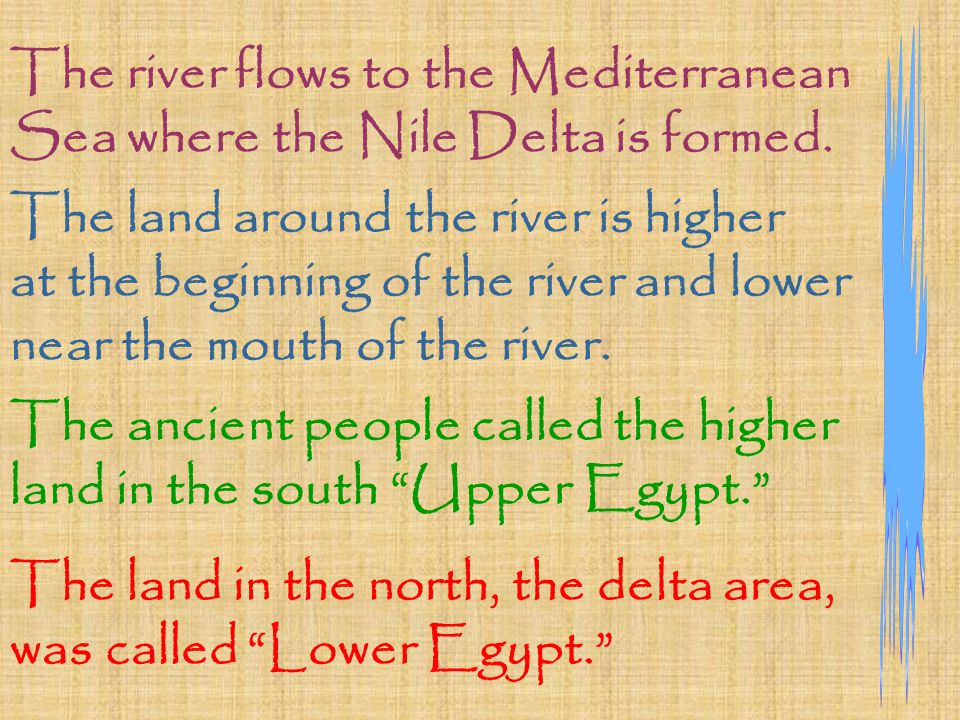 The river flows to the Mediterranean Sea where the Nile Delta is formed.