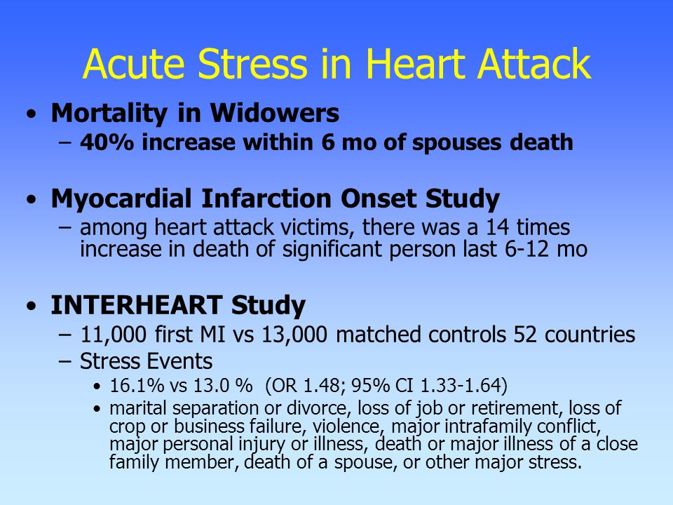 Acute Stress in Heart Attack Mortality in Widowers –40% increase within 6 mo of spouses death Myocardial Infarction Onset Study –among heart attack victims, there was a 14 times increase in death of significant person last 6-12 mo INTERHEART Study –11,000 first MI vs 13,000 matched controls 52 countries –Stress Events 16.1% vs 13.0 % (OR 1.48; 95% CI 1.33-1.64) marital separation or divorce, loss of job or retirement, loss of crop or business failure, violence, major intrafamily conflict, major personal injury or illness, death or major illness of a close family member, death of a spouse, or other major stress.