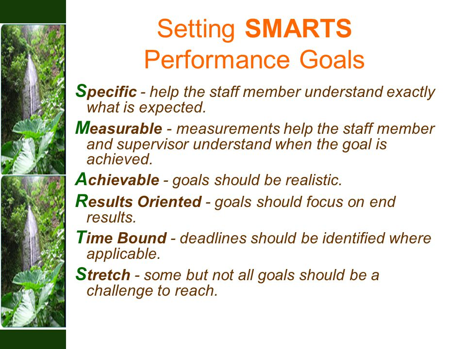 Setting SMARTS Performance Goals S pecific - help the staff member understand exactly what is expected.