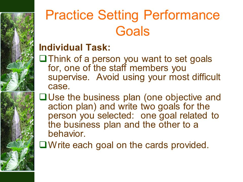 Practice Setting Performance Goals Individual Task:  Think of a person you want to set goals for, one of the staff members you supervise.