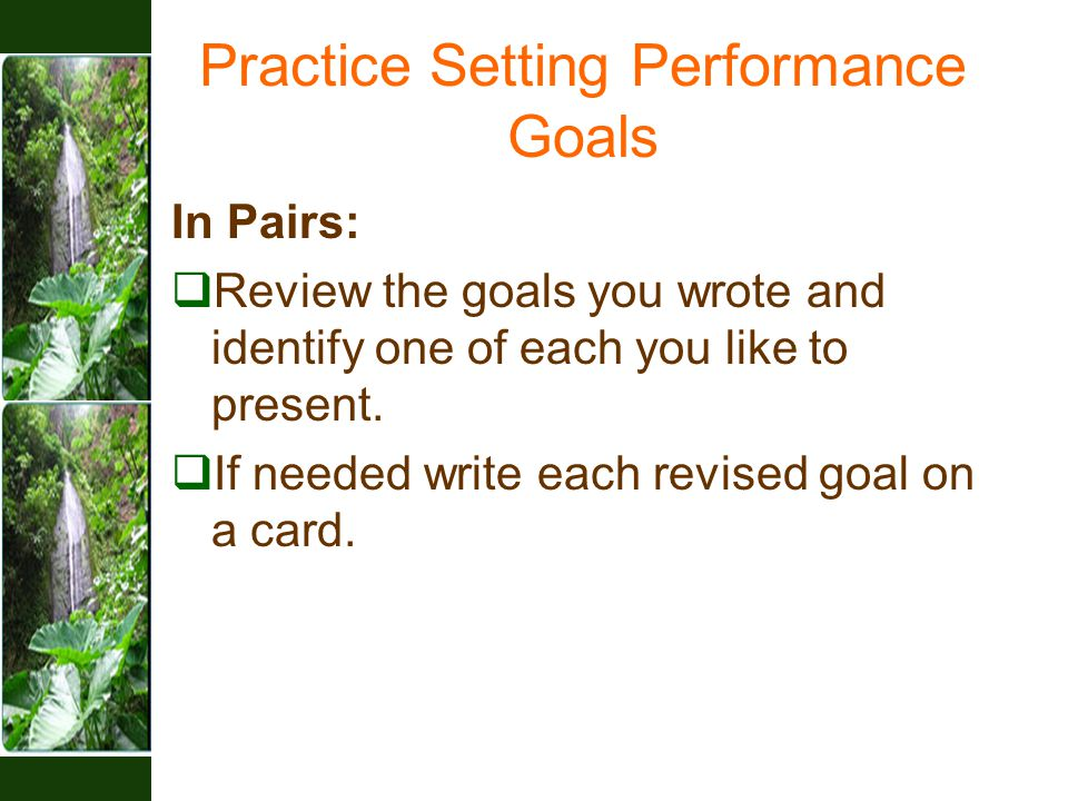 Practice Setting Performance Goals In Pairs:  Review the goals you wrote and identify one of each you like to present.  If needed write each revised