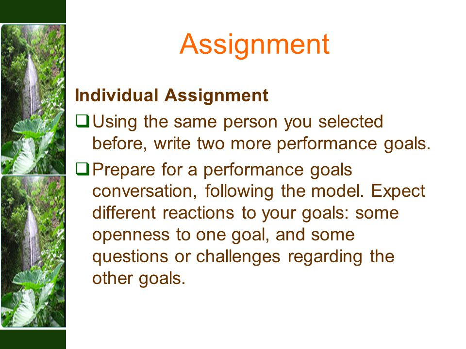 Assignment Individual Assignment  Using the same person you selected before, write two more performance goals.  Prepare for a performance goals conv