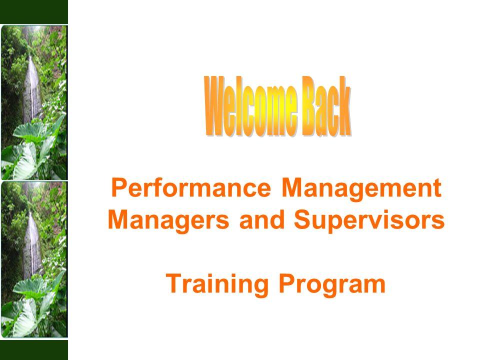 Performance Management Managers and Supervisors Training Program