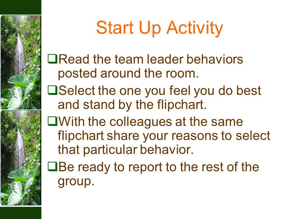 Start Up Activity  Read the team leader behaviors posted around the room.  Select the one you feel you do best and stand by the flipchart.  With th