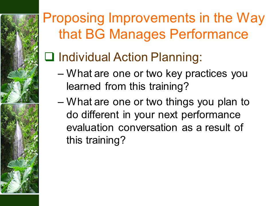 Proposing Improvements in the Way that BG Manages Performance  Individual Action Planning: –What are one or two key practices you learned from this training.
