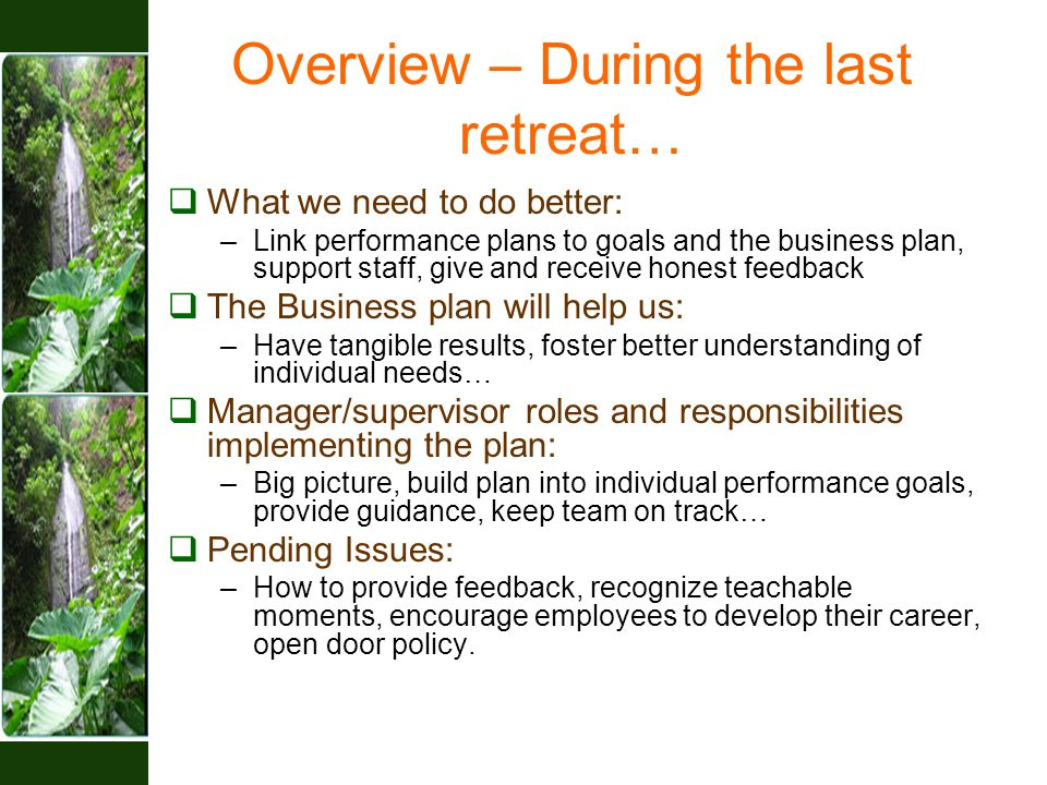 Overview – During the last retreat…  What we need to do better: –Link performance plans to goals and the business plan, support staff, give and recei