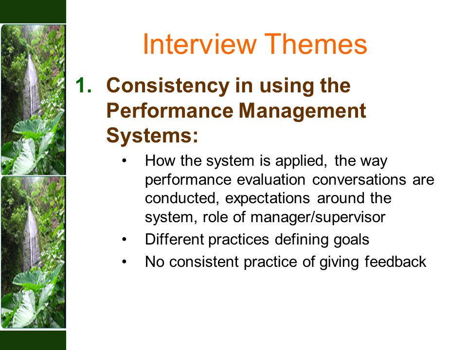 Interview Themes 1.Consistency in using the Performance Management Systems: How the system is applied, the way performance evaluation conversations are conducted, expectations around the system, role of manager/supervisor Different practices defining goals No consistent practice of giving feedback