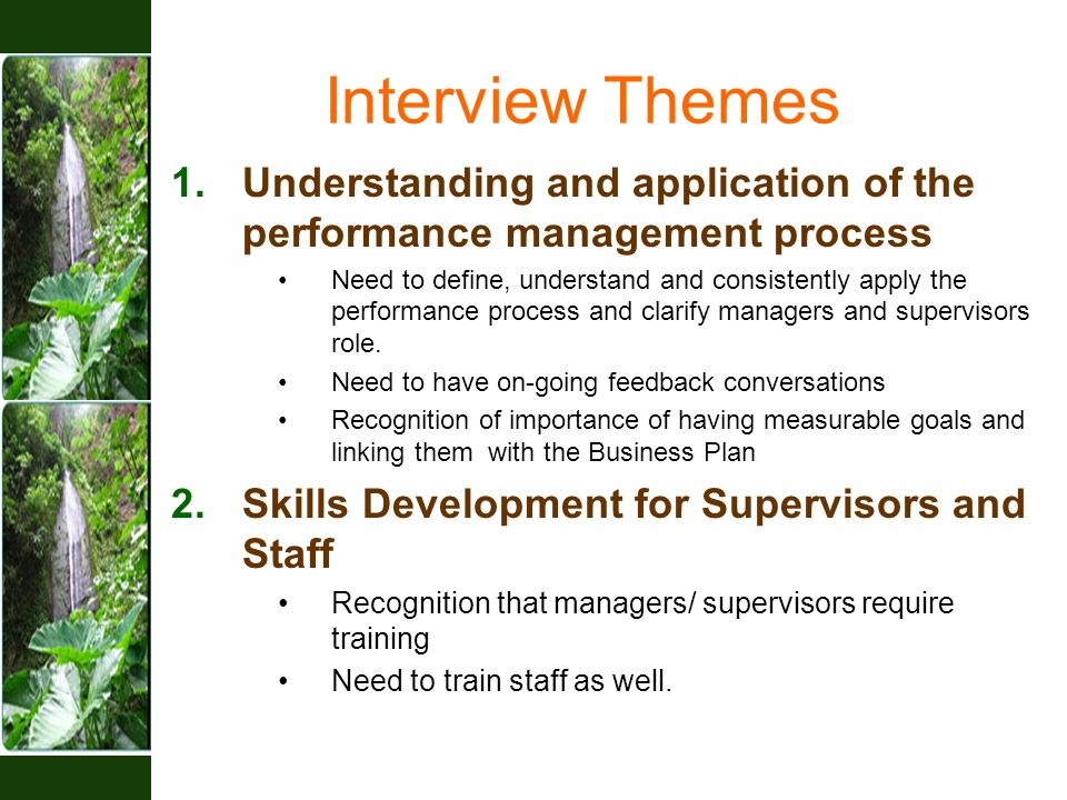 Interview Themes 1.Understanding and application of the performance management process Need to define, understand and consistently apply the performance process and clarify managers and supervisors role.