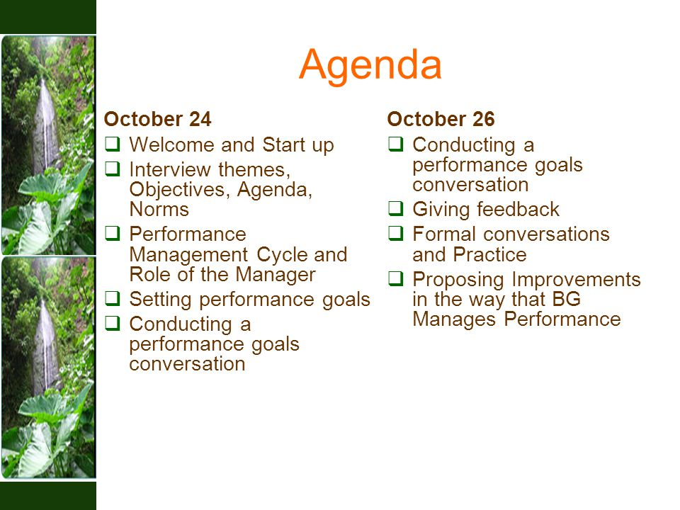 Agenda October 24  Welcome and Start up  Interview themes, Objectives, Agenda, Norms  Performance Management Cycle and Role of the Manager  Setting performance goals  Conducting a performance goals conversation October 26  Conducting a performance goals conversation  Giving feedback  Formal conversations and Practice  Proposing Improvements in the way that BG Manages Performance