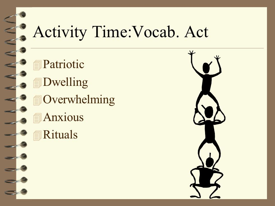 Activity Time:Vocab. Act 4 Patriotic 4 Dwelling 4 Overwhelming 4 Anxious 4 Rituals