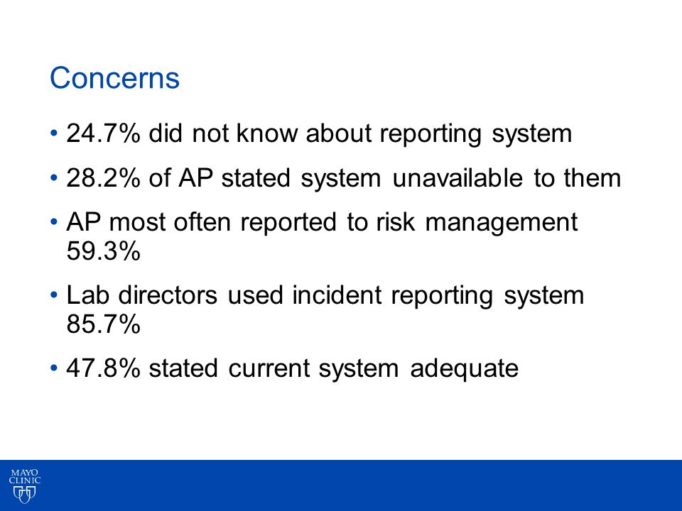 Concerns 24.7% did not know about reporting system 28.2% of AP stated system unavailable to them AP most often reported to risk management 59.3% Lab directors used incident reporting system 85.7% 47.8% stated current system adequate