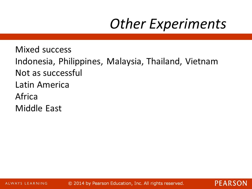 Other Experiments Mixed success Indonesia, Philippines, Malaysia, Thailand, Vietnam Not as successful Latin America Africa Middle East