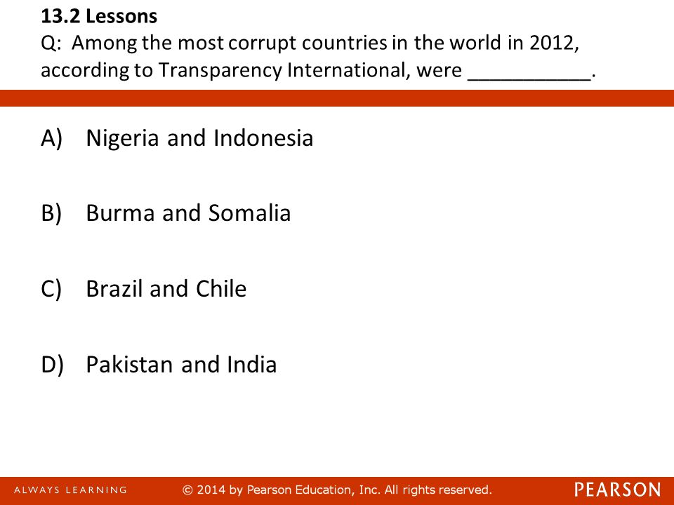 13.2 Lessons Q: Among the most corrupt countries in the world in 2012, according to Transparency International, were ___________.