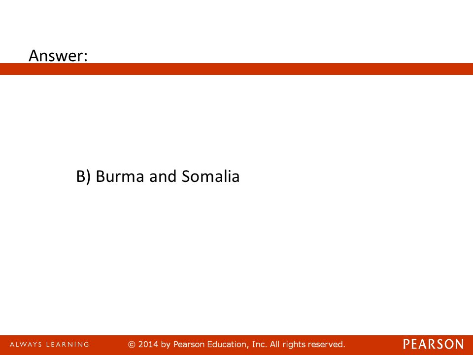 Answer: B) Burma and Somalia