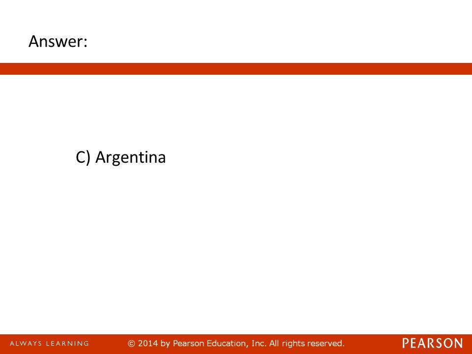 Answer: C) Argentina