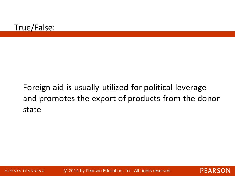 Foreign Assistance Answer: True