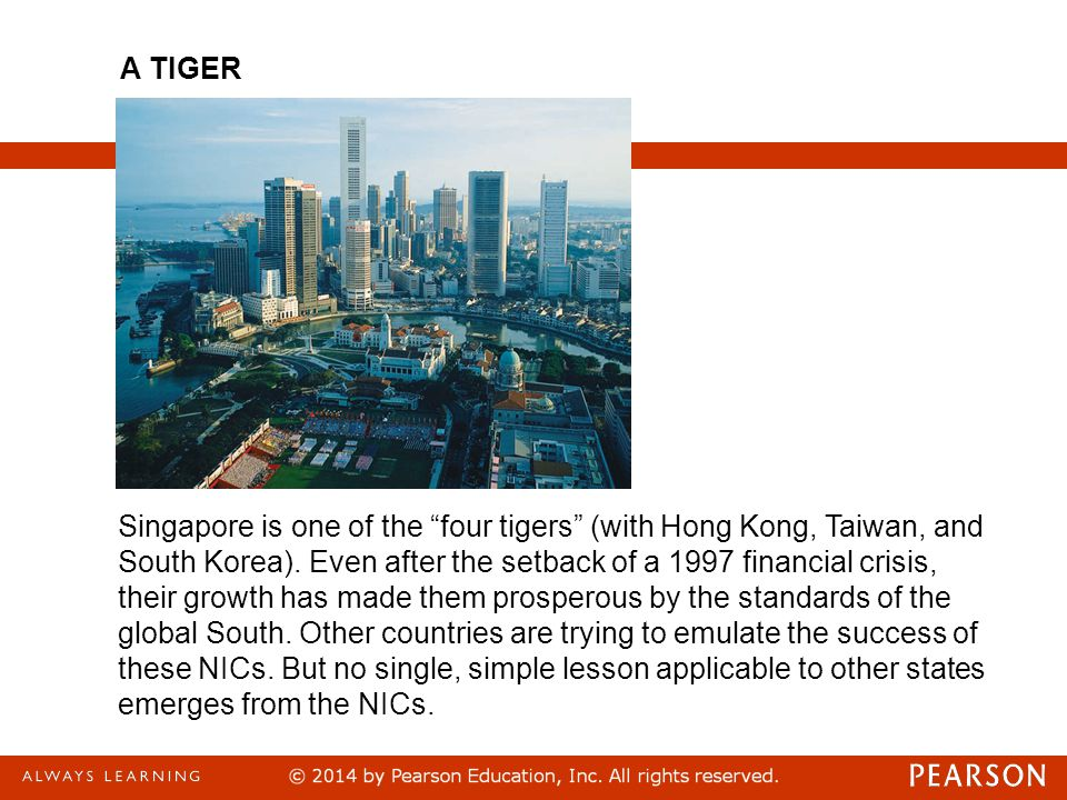 Singapore is one of the four tigers (with Hong Kong, Taiwan, and South Korea).