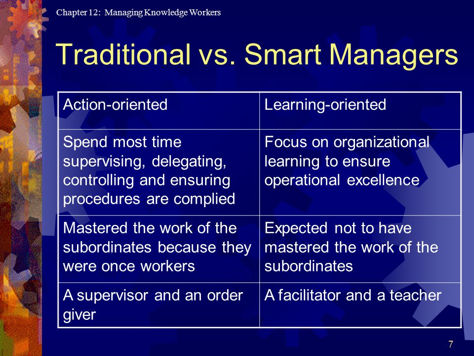 Chapter 12: Managing Knowledge Workers 7 Traditional vs.