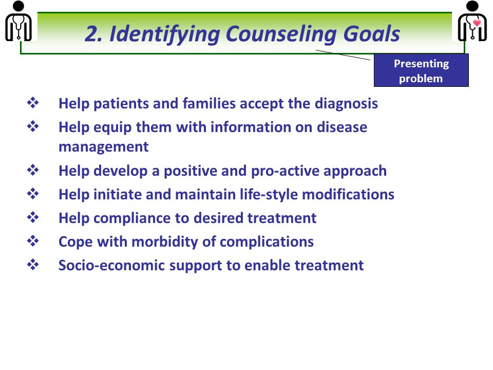  Help patients and families accept the diagnosis  Help equip them with information on disease management  Help develop a positive and pro-active ap