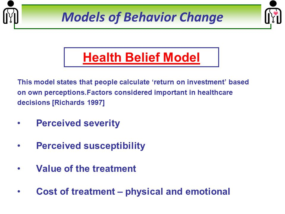 This model states that people calculate 'return on investment' based on own perceptions.Factors considered important in healthcare decisions [Richards