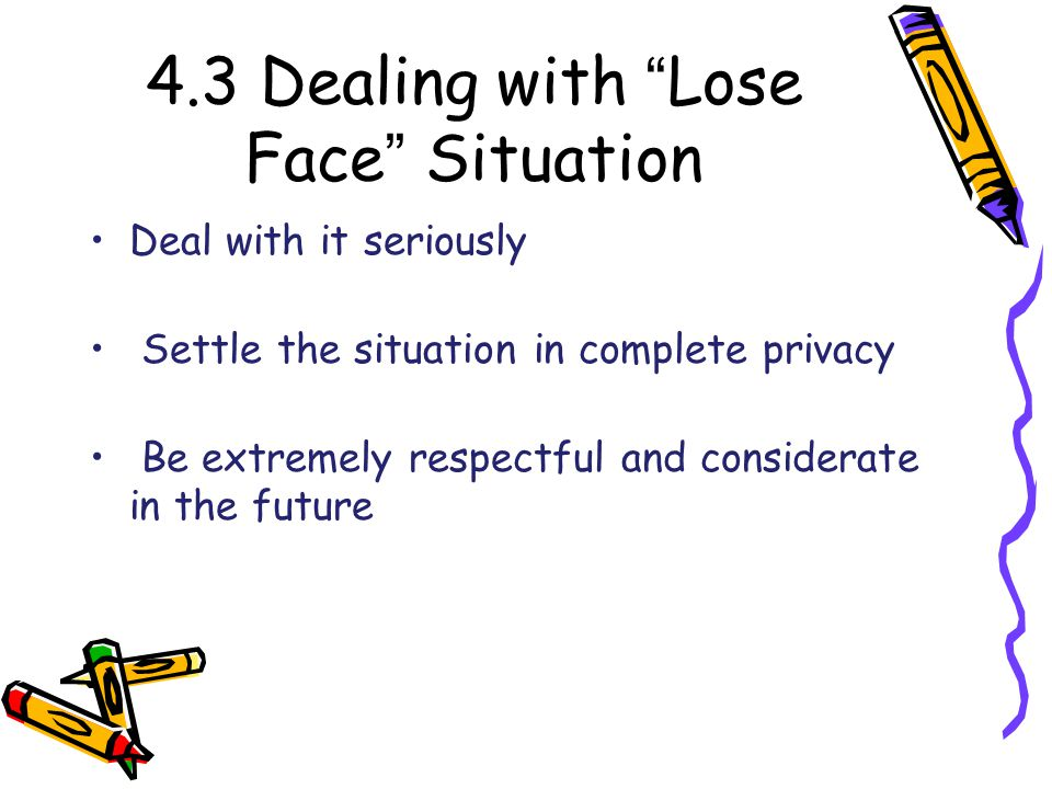 4.3 Dealing with Lose Face Situation Deal with it seriously Settle the situation in complete privacy Be extremely respectful and considerate in the future