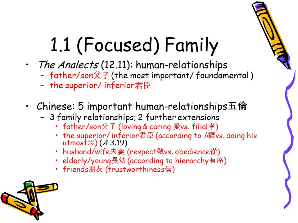 1.1 (Focused) Family: On Filial Direct questions on filial in The Analects Give your father and mother no cause for anxiety other than illness 父母唯其疾之憂 (A 2.6) Nowadays for a man to be filial means no more than that he is able to provide his parents with food.