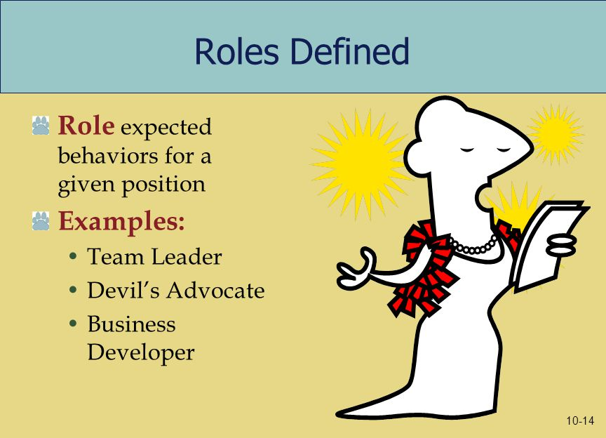 Roles Defined Role expected behaviors for a given position Examples: Team Leader Devil's Advocate Business Developer 10-14
