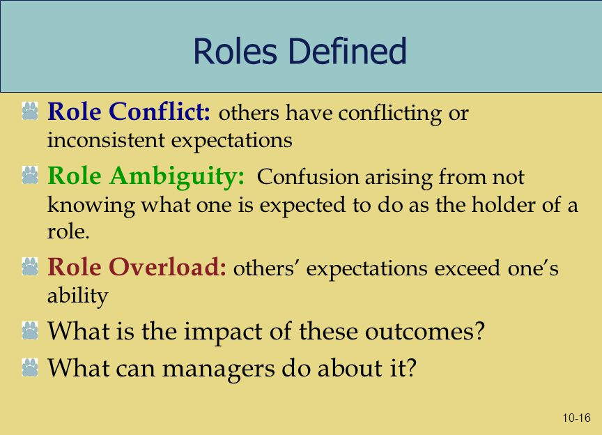 Roles Defined Role Conflict: others have conflicting or inconsistent expectations Role Ambiguity: Confusion arising from not knowing what one is expected to do as the holder of a role.
