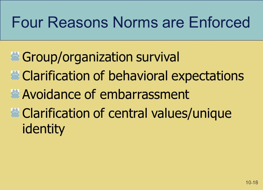 Four Reasons Norms are Enforced Group/organization survival Clarification of behavioral expectations Avoidance of embarrassment Clarification of central values/unique identity 10-18