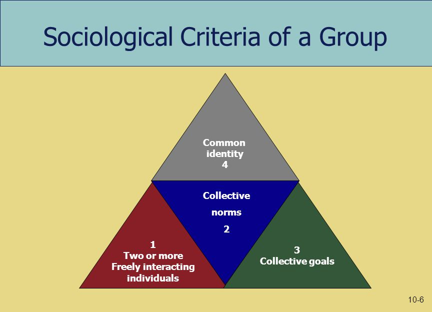 Sociological Criteria of a Group Common identity 4 1 Two or more Freely interacting individuals 3 Collective goals Collective norms 2 10-6