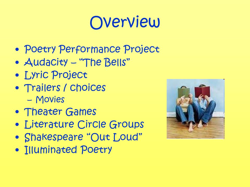Overview Poetry Performance Project Audacity – The Bells Lyric Project Trailers / choices –Movies Theater Games Literature Circle Groups Shakespeare Out Loud Illuminated Poetry