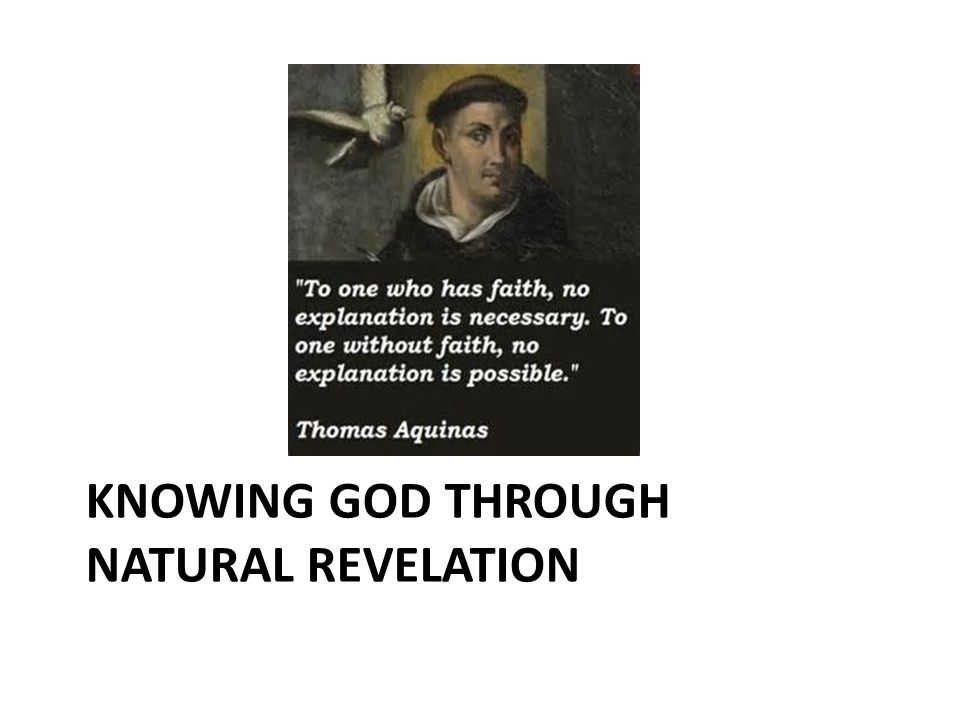 KNOWING GOD THROUGH NATURAL REVELATION
