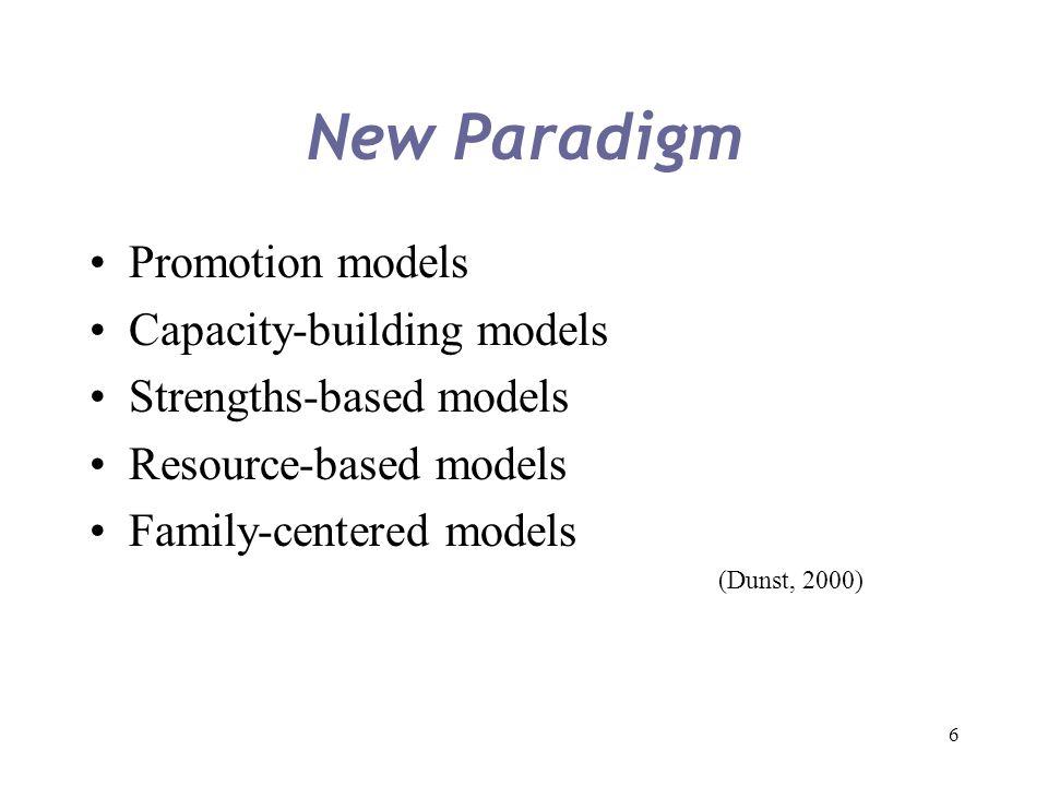 6 New Paradigm Promotion models Capacity-building models Strengths-based models Resource-based models Family-centered models (Dunst, 2000)