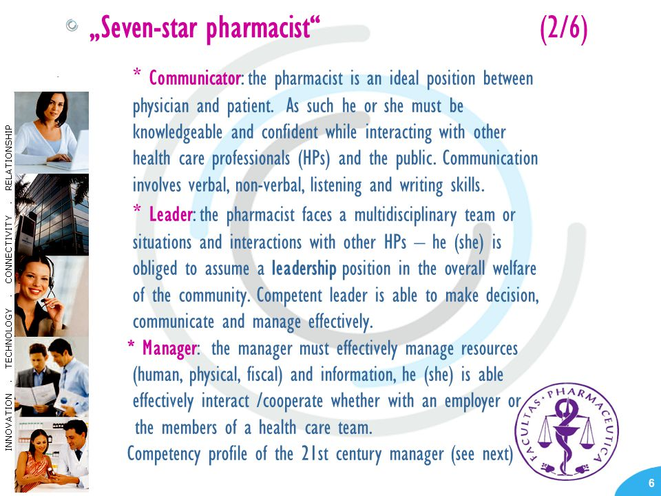 "- 6 ""Seven-star pharmacist (2/6) * Communicator: the pharmacist is an ideal position between physician and patient."