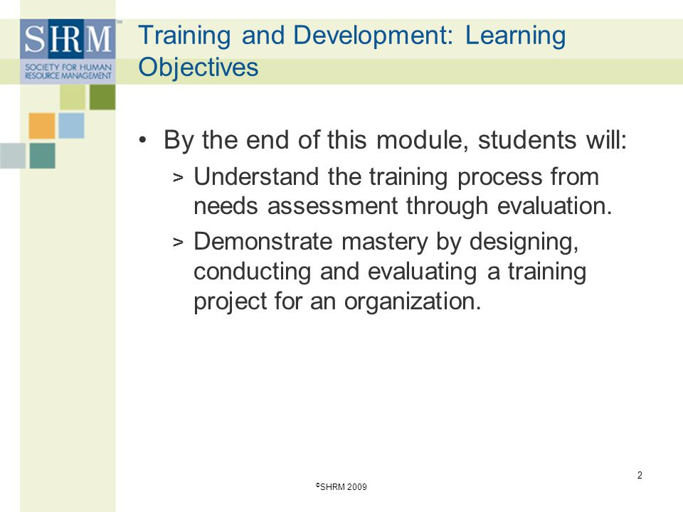 2 Training and Development: Learning Objectives By the end of this module, students will: > Understand the training process from needs assessment through evaluation.