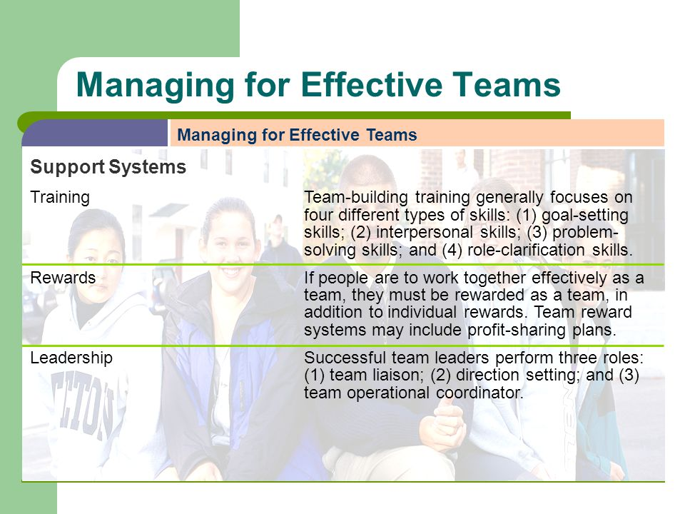 Managing for Effective Teams Support Systems TrainingTeam-building training generally focuses on four different types of skills: (1) goal-setting skil