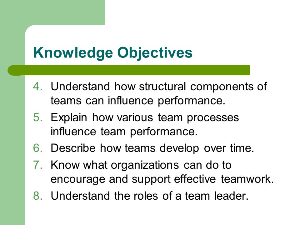 Knowledge Objectives 4.Understand how structural components of teams can influence performance.