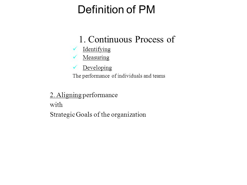 Administer Salary & Wages -Correct Performance/Behavior -Plan for Future (promotion, transfer, career dev) -Facilitate Decision-Making (counseling, terminations) -Facilitate Human Resource Planning -Create Culture -Building Good Relationships -Increase Organizational Loyalty -Determine Effectiveness of Selection and Placement Methods The WHY of Performance Management Systems
