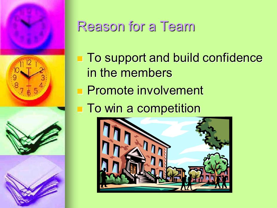Reason for a Team To support and build confidence in the members To support and build confidence in the members Promote involvement Promote involvement To win a competition To win a competition