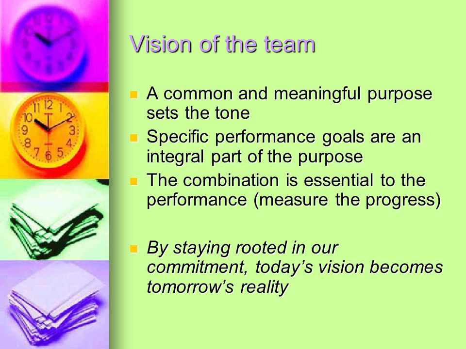 Vision of the team A common and meaningful purpose sets the tone A common and meaningful purpose sets the tone Specific performance goals are an integral part of the purpose Specific performance goals are an integral part of the purpose The combination is essential to the performance (measure the progress) The combination is essential to the performance (measure the progress) By staying rooted in our commitment, today's vision becomes tomorrow's reality By staying rooted in our commitment, today's vision becomes tomorrow's reality