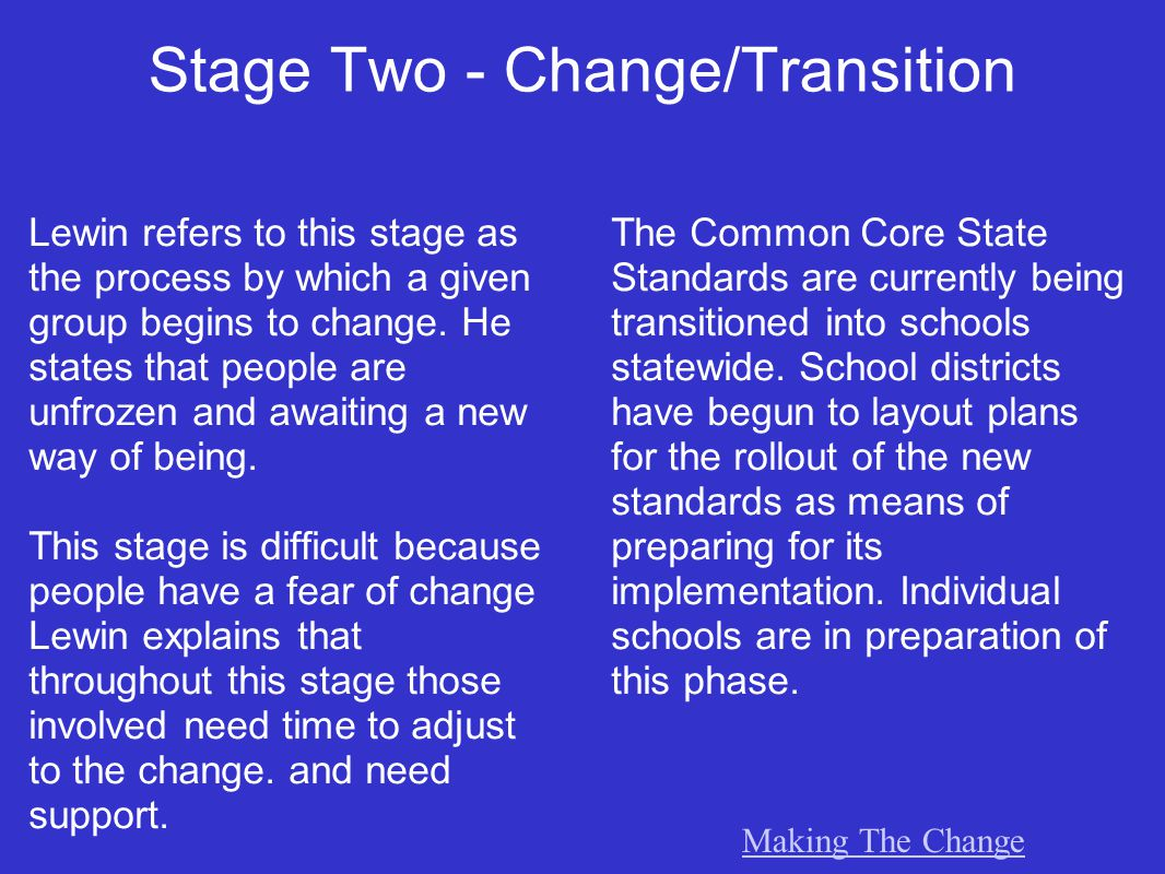 Stage Two - Change/Transition Lewin refers to this stage as the process by which a given group begins to change.