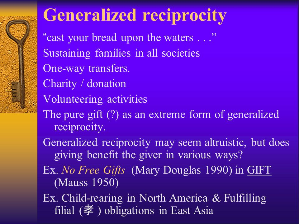 "Generalized reciprocity ""cast your bread upon the waters..."" Sustaining families in all societies One-way transfers. Charity / donation Volunteering a"