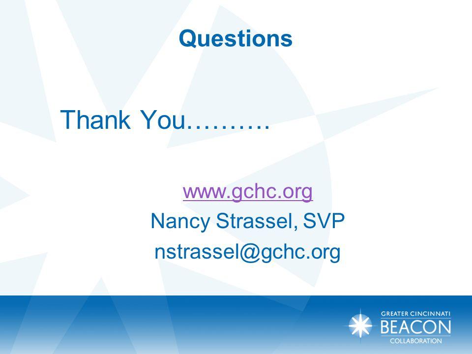 Questions Thank You………. www.gchc.org Nancy Strassel, SVP nstrassel@gchc.org