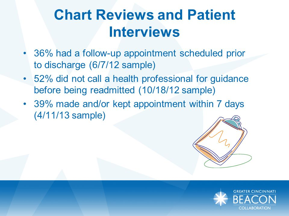 Care Transitions – New Approaches 5 hospitals, Health Council, COA Christ, Mercy FF, Jewish, University, Clinton Patient coaching and empowerment model Two-year contract with CMS RESULTS: Baseline of 25% to a current readmission rate of 15.2% (coached patients) P