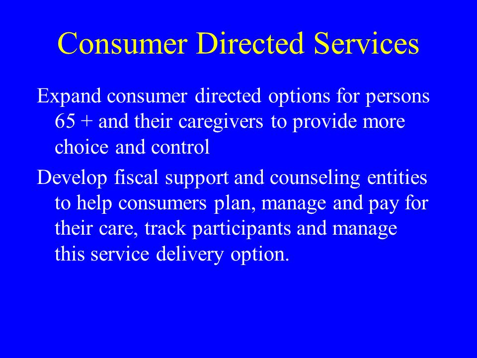Consumer Directed Services Expand consumer directed options for persons 65 + and their caregivers to provide more choice and control Develop fiscal su