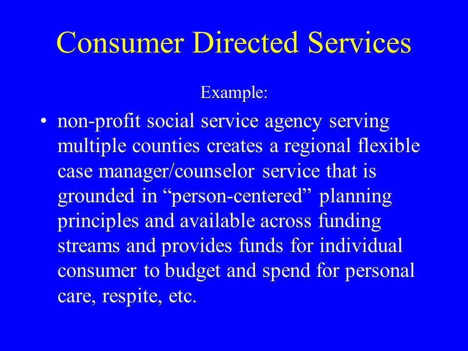Consumer Directed Services Example: non-profit social service agency serving multiple counties creates a regional flexible case manager/counselor serv