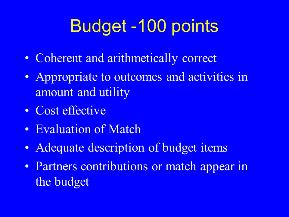 Budget -100 points Coherent and arithmetically correct Appropriate to outcomes and activities in amount and utility Cost effective Evaluation of Match
