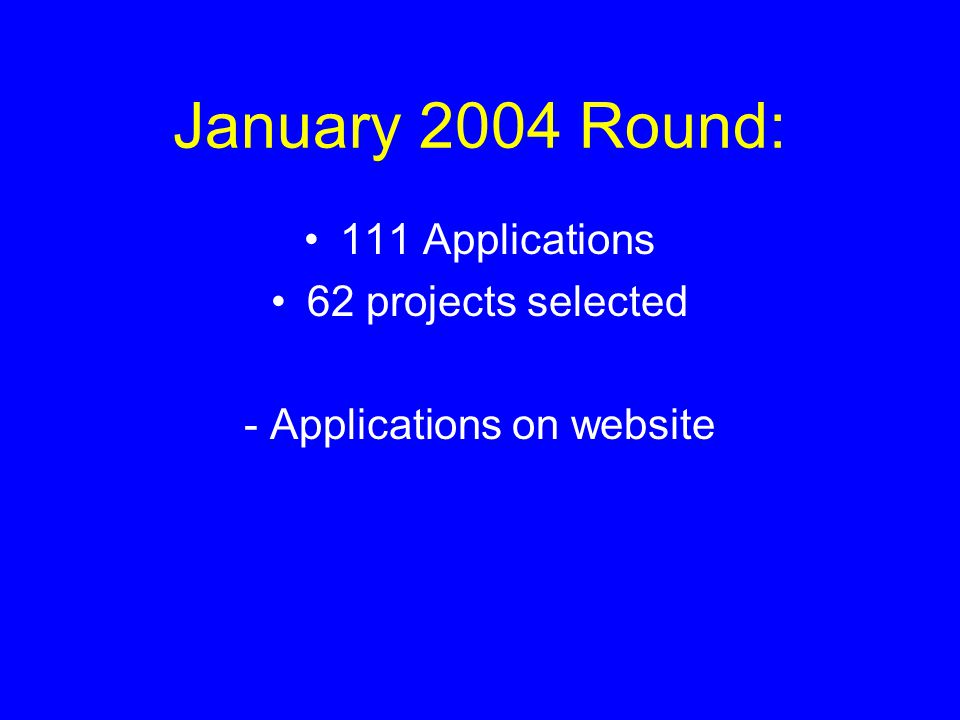 July 2004 Round: 29 Applications 9 projects selected - Applications will be posted on website